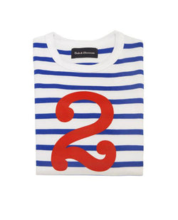 Bob and Blossom Blue and White Striped Number T-Shirt