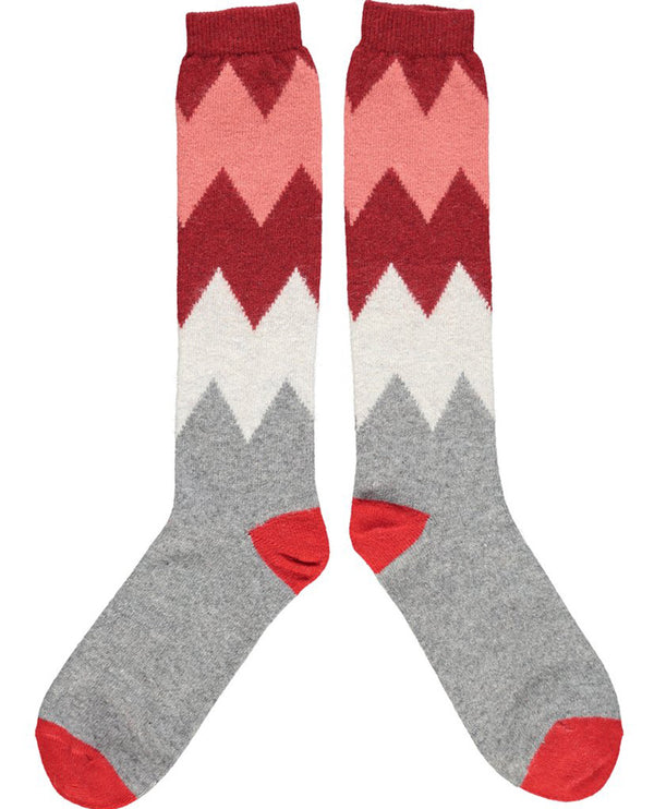 Catherine Tough Zigzag Red Lambswool Knee Socks