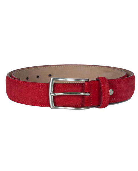 Fioriblu red Leather ladies grents unisex velvet suede italian belt | Biscuit Clothing Edinburgh