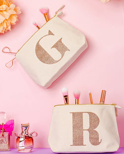 Alphabet Bags Personalised Cream Canvas Makeup Bag Rose Gold Letter Toiletry Pouch | Biscuit Clothing