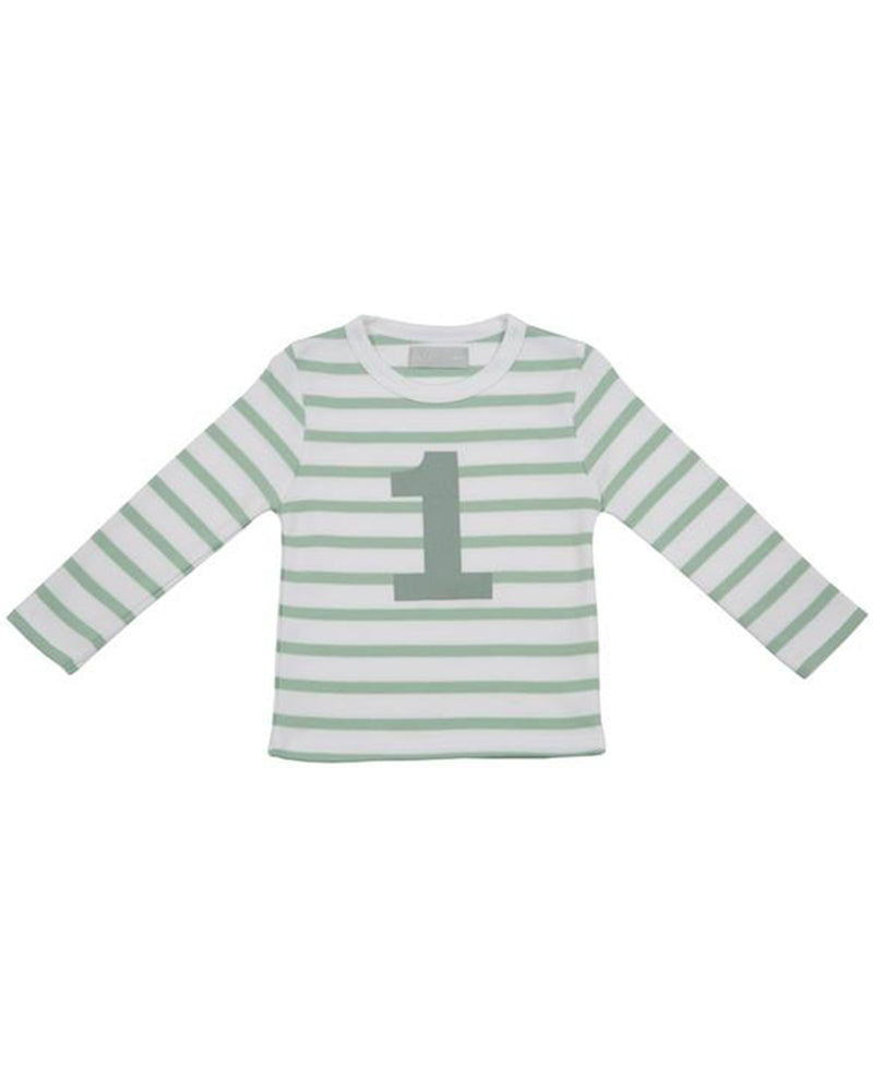 Bob and Blossom Seafoam and White Striped Number T-Shirt