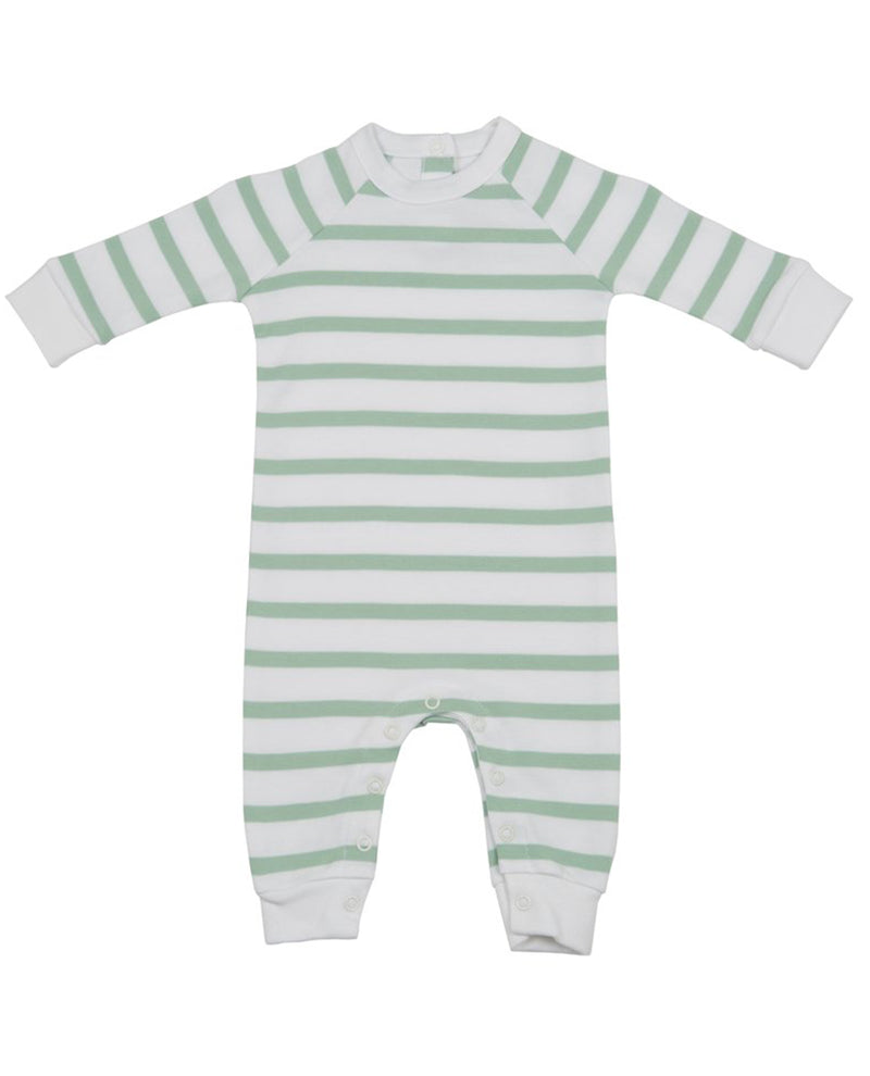 Bob and Blossom Seafoam and White Striped All-In-One romper onesie baby sleep suit