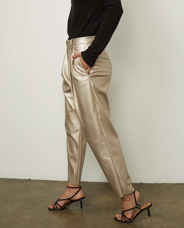 Velvet Simone Metallic Faux Leather Trousers