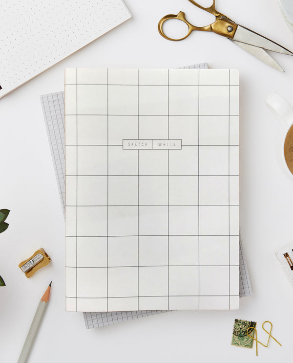 Katie Leamon Wiro Cream Grid Notebook