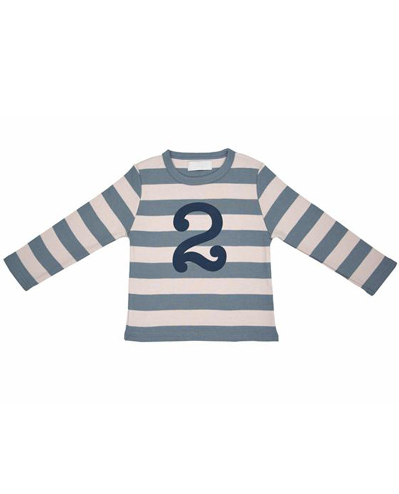 Bob and Blossom Slate and Stone Striped Number T-Shirt