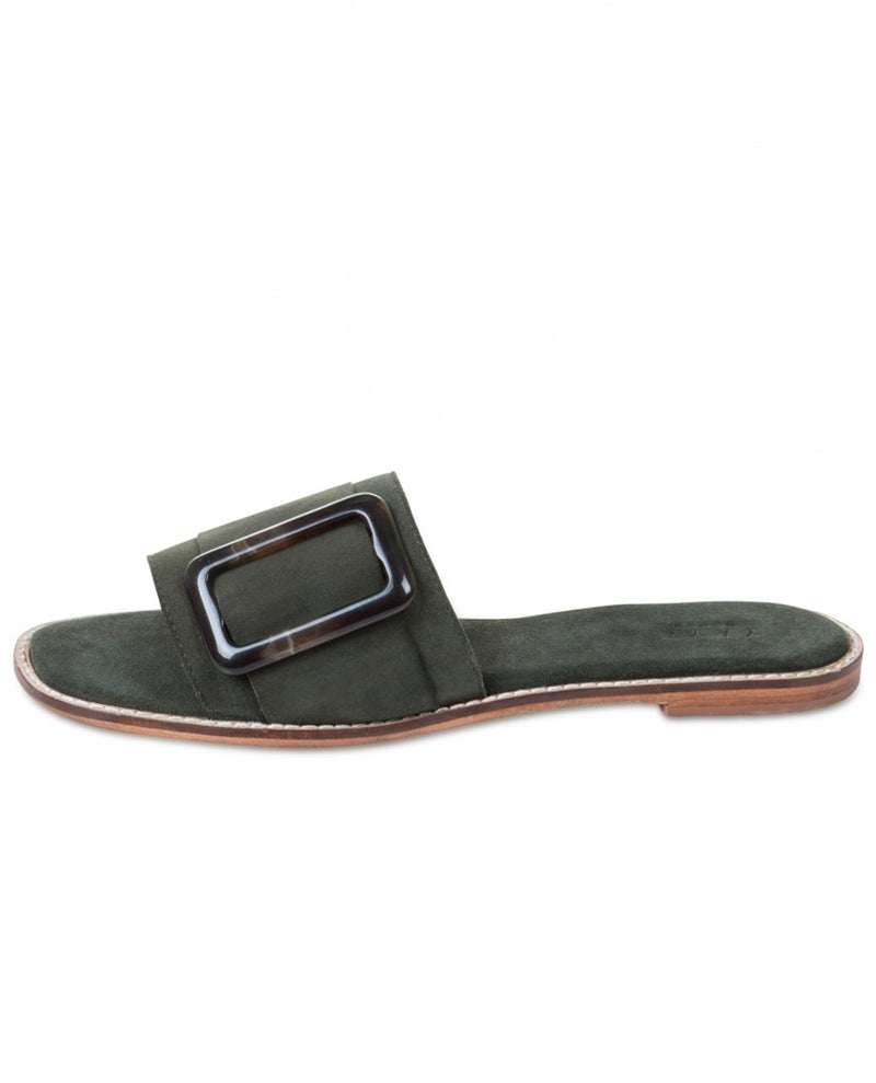 Yaya Green Suede Sliders