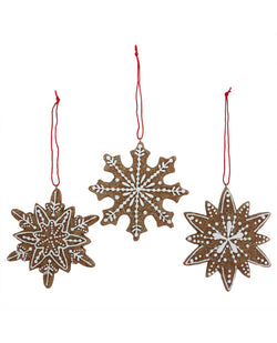 Gisela Graham Gingerbread Snowflakes Resin Decoration