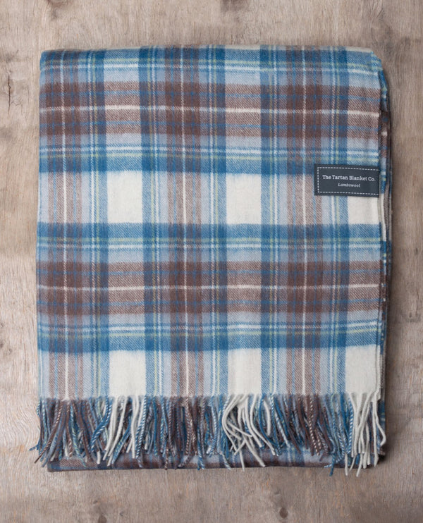 Tartan Blanket Co. Stewart Blue Lambswool Blanket