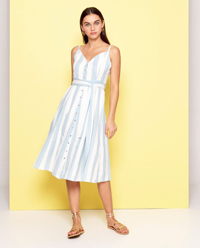 Dream Pale Blue Striped Strappy Dress