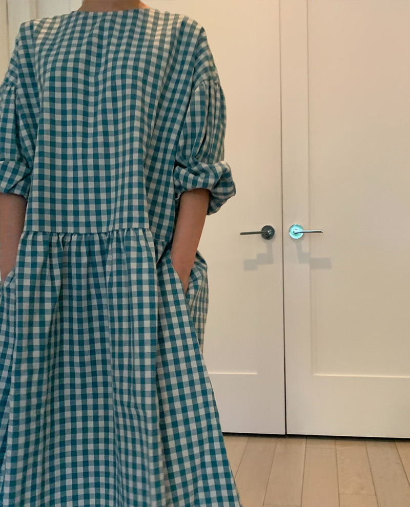 April Meets October May Gingham Turquoise Dress