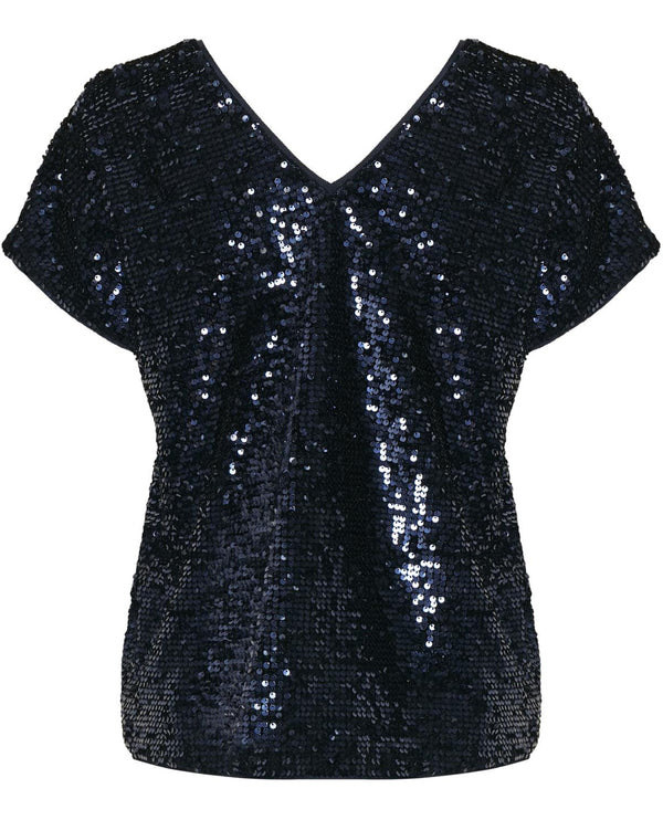Part Two Venus Navy Sequin Top