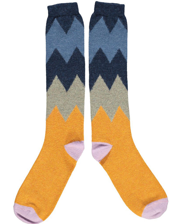 Catherine Tough Zigzag Navy Lambswool Knee Socks