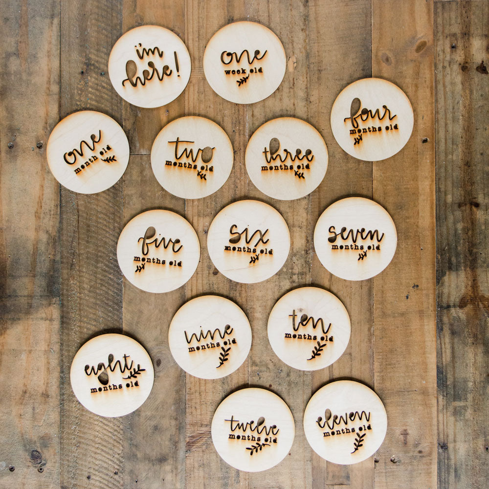 Wooden baby milestones - natural style