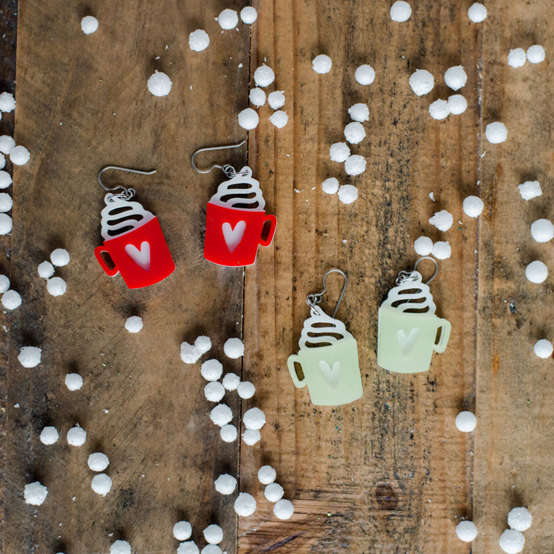 Cup of hot cocoa earrings