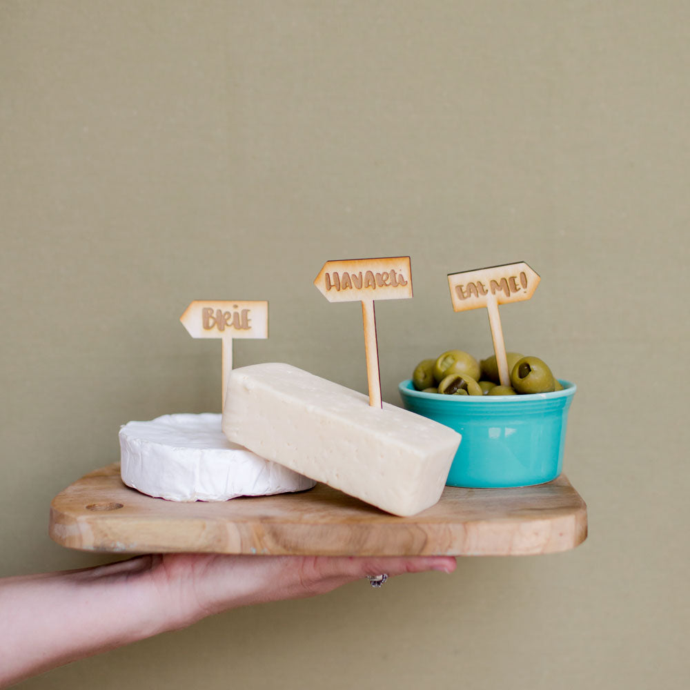 Wooden cheese labels