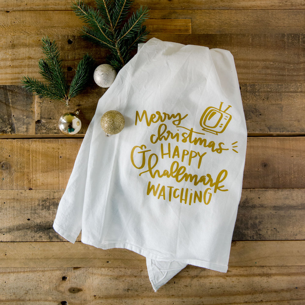 Merry Christmas and Happy Hallmark towel