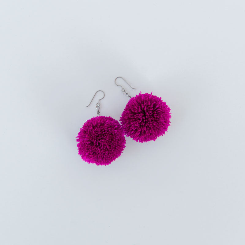 Yarn pom earrings