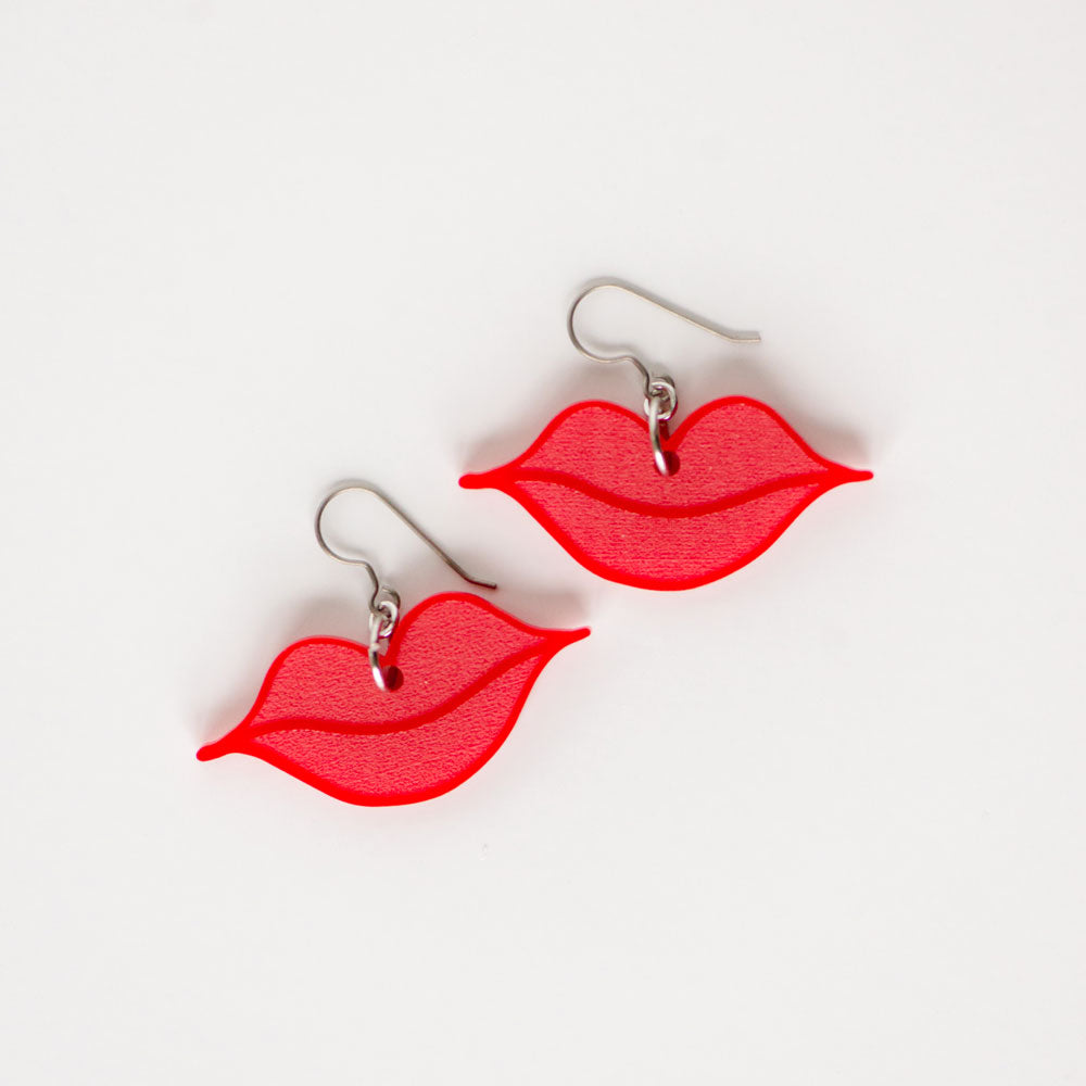 Valentines day lips kiss earrings