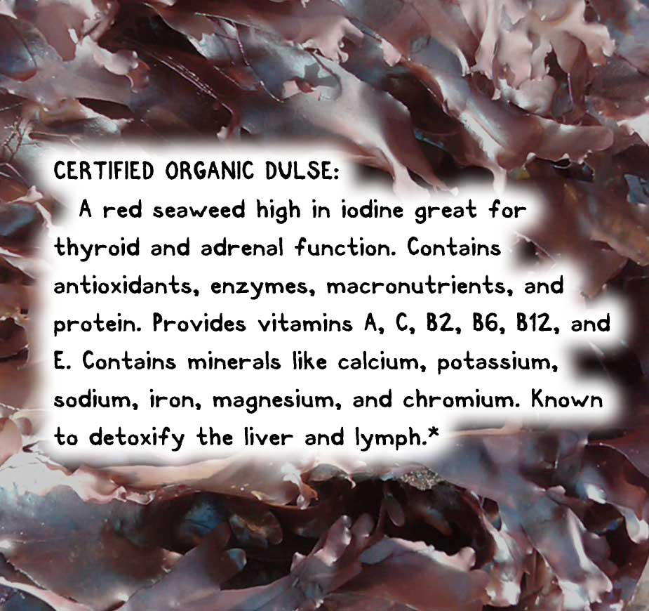 CERTIFIED ORGANIC DULSE: A red seaweed high in iodine great for thyroid and adrenal function. Contains antioxidants, enzymes, macronutrients, and protein. Provides vitamins A, C, B2, B6, B12, and E. Contains minerals like calcium, potassium, sodium, iron, magnesium, and chromium. Known to detoxify the liver and lymph.