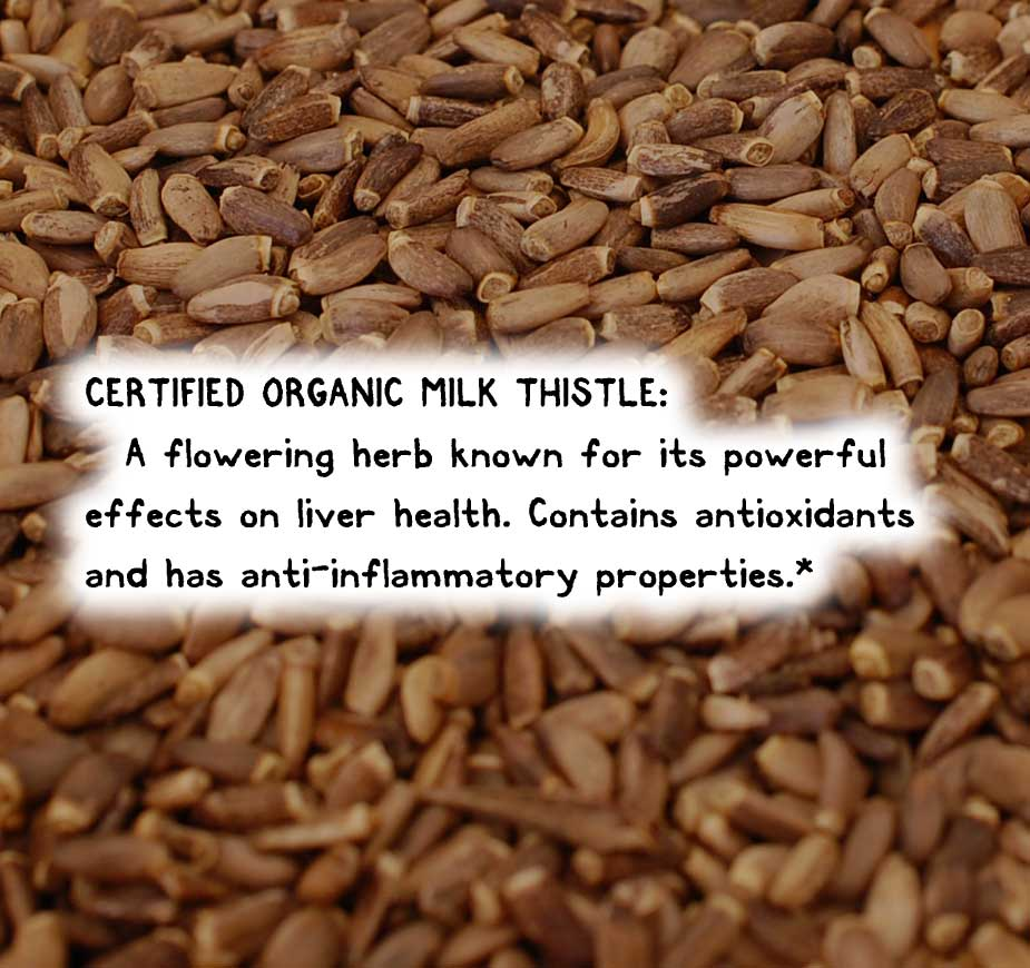 CERTIFIED ORGANIC MILK THISTLE: A flowering herb known for its powerful effects on liver health. Contains antioxidants and has anti-inflammatory properties.