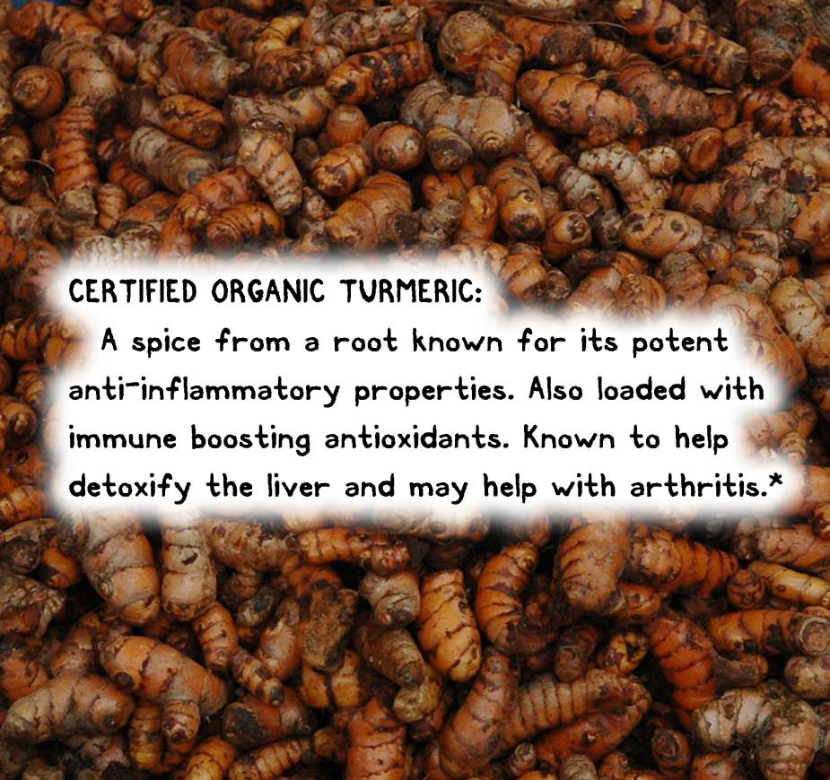 CERTIFIED ORGANIC TURMERIC: A spice from a root known for its potent anti-inflammatory properties. Also loaded with immune boosting antioxidants. Known to help detoxify the liver and may help with arthritis.