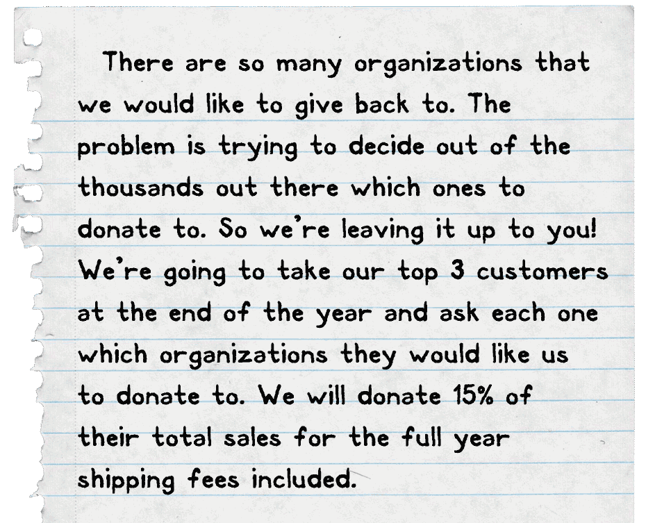 There are so many organizations that we would like to give back to. The  problem is trying to decide out of the thousands out there which ones to donate to. So we're leaving it up to you! We're going to take our top 3 customers at the end of the year and ask each one which organizations they would like us  to donate to. We will donate 15% of  their total sales for the full year  shipping fees included.