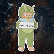 RAWr Superfoods Dino mascot sticker