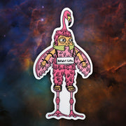 RAWr! Algae Oil Flamingo Mascot - Sticker