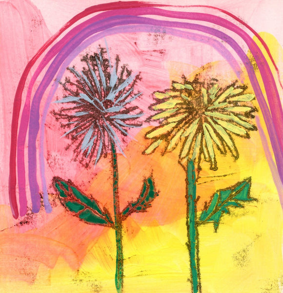 Dandelions and pink rainbow Limited Edition 5x5 inch print