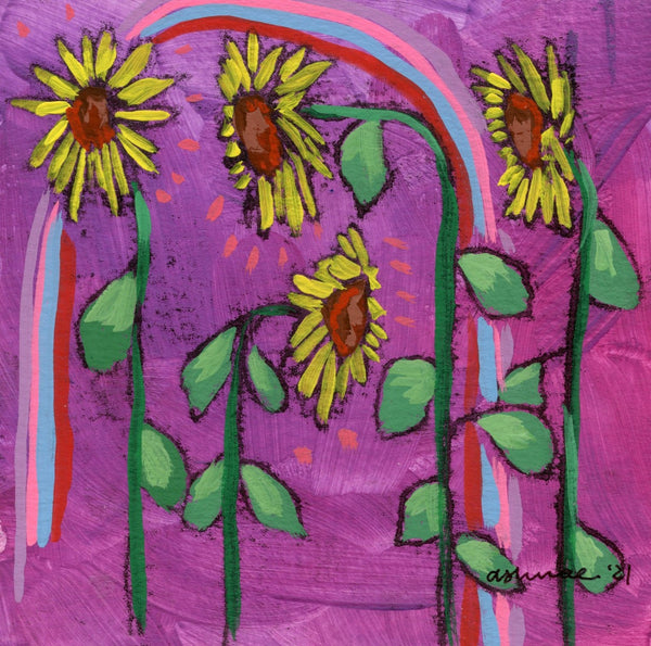 Sunflowers on Purple Limited Edition 5x5 inch print