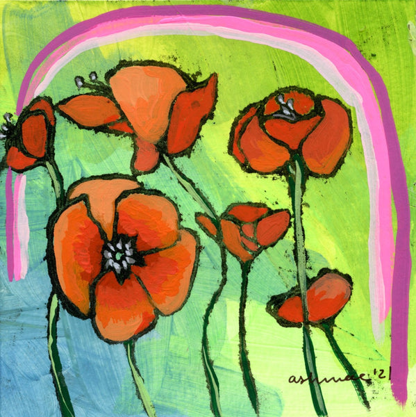 Blooming Poppies and pink rainbow Limited Edition 5x5 inch print