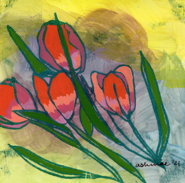 Red Tulips Limited Edition 5x5 inch print