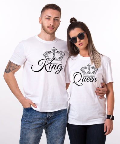 King Queen, Crowns Print, Couples Matching Set of Shirts