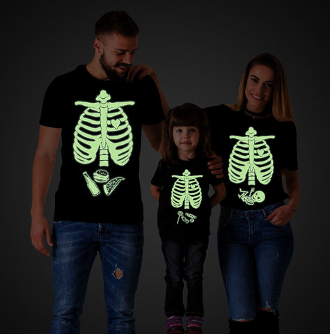 Glow in the dark shirt,Halloween maternity shirts, Skeleton baby shirt, Baby boy