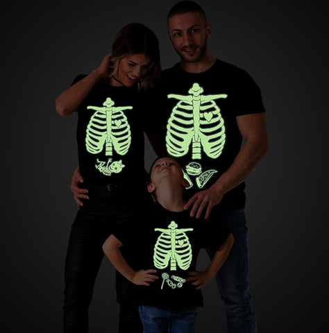 Glow in the dark shirt,Halloween maternity shirts, Skeleton baby shirt, Baby girl