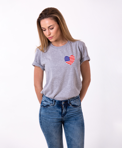 American Flag Pocket Heart, 4th of July Shirt