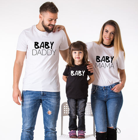 Baby Daddy, Baby Mama, Baby, Family Matching Set of Shirts