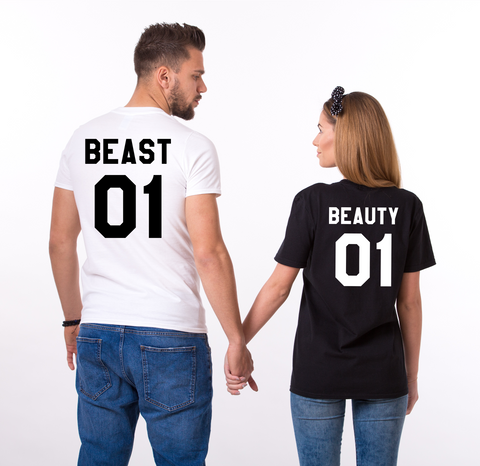 Beauty Beast 01 Couples T-shirt Set, Beauty Beast shirts, 01 Couples Shirt Set, 100% cotton Tee, UNISEX