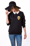 Alien Crewneck, Alien Sweatshirt, Alien Sweater 50/50% Cotton/Polyester Crewneck, Black, UNISEX
