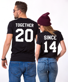 Together Since Set of 2 Couple T-shirts, Together Since Set of 2 Couple Shirts 100% cotton Tee, Black/White/Gray, UNISEX