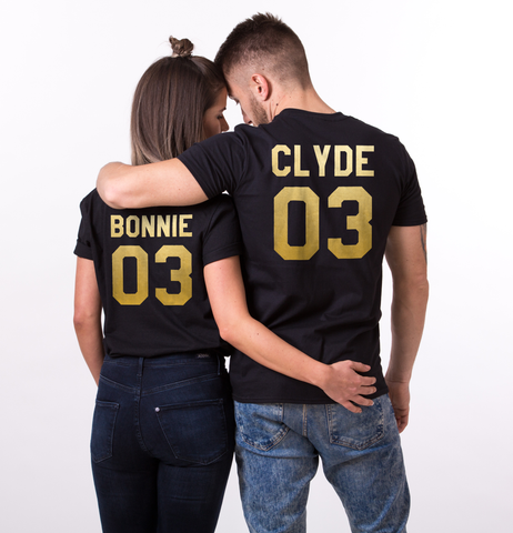 White&Gold edition: Bonnie Clyde 03 Set of 2 Couple T-shirts, Bonnie Clyde 03 Set of 2 Couple Shirts 100% cotton Tee, WHITE and GOLD, Unisex