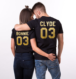 Black&Gold edition: Bonnie Clyde 03 Set of 2 Couple T-shirts, Bonnie Clyde 03 Set of 2 Couple Shirts 100% cotton Tee, BLACK and GOLD, Unisex