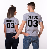 Bonnie Clyde 03 Set of 2 Couple T-shirts, Bonnie Clyde 03 Set of 2 Couple Shirts 100% cotton Tee, BLACK + PINK, UNISEX