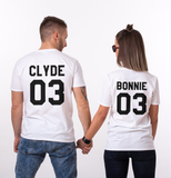 Copy of Bonnie Clyde 03 Set of 2 Couple T-shirts, Bonnie Clyde 03 Set of 2 Couple Shirts 100% cotton Tee, White, UNISEX