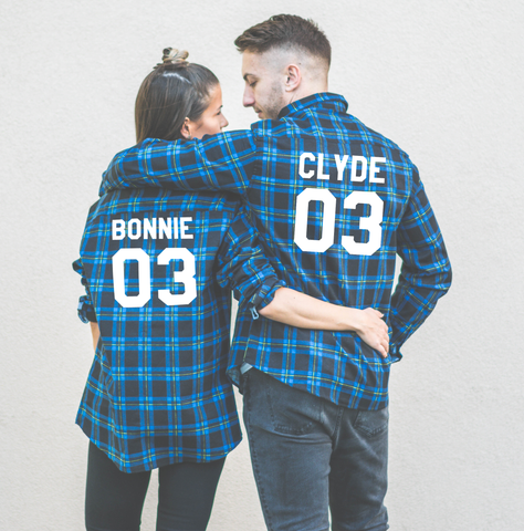 Bonnie 03 Clyde 03, Plaid Shirts Matching Set for Couples
