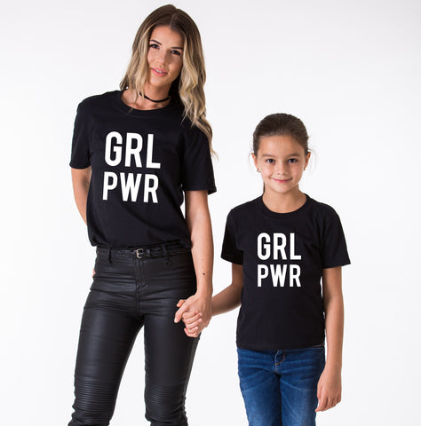 GRL PWR, Girl Power, Mommy and Me Matching Set of Shirts
