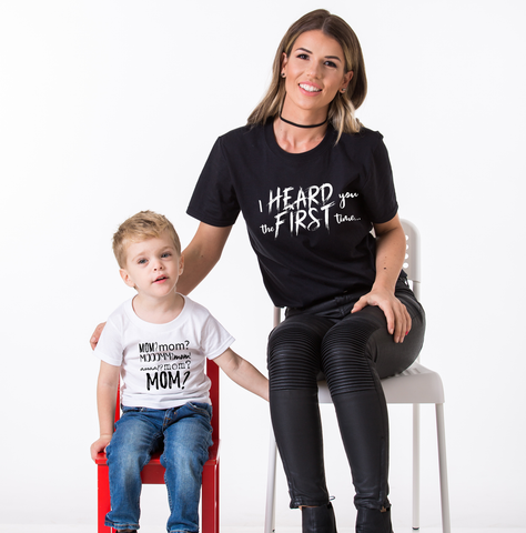 Momomomom, I Heart You the First Time, Mommy and Me Matching Set of Shirts