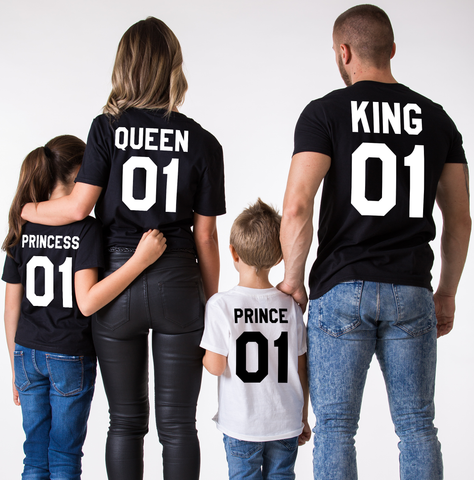 King 01 Queen 01 Prince 01 Princess 01, Family Matching Set of Shirts