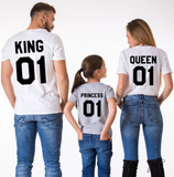 King 01 Queen 01 Princess 01, Family Matching Set of Shirts