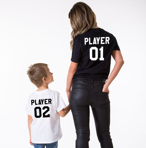 Player 01 Player 02 Mommy and Me Shirts